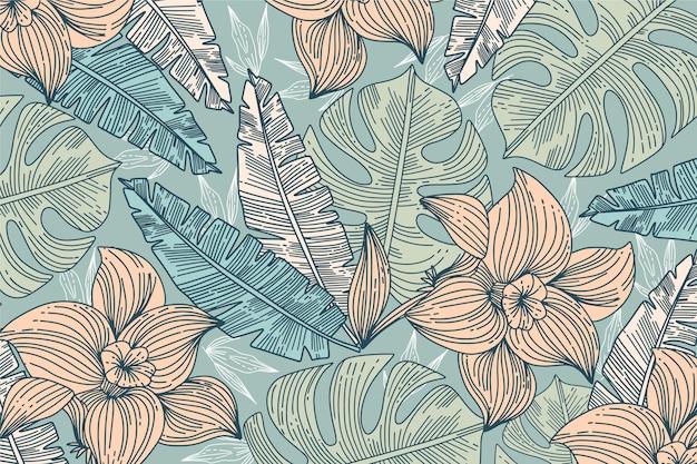 Fundo de folhas tropicais lineares