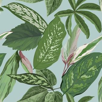 Fundo de folhas tropicais, padrão floral botânico sem emenda para capa, tecido e impressão de tecido em ilustração vetorial