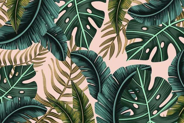 Fundo de folhas tropicais pintadas à mão