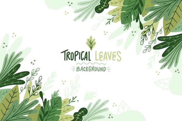 Fundo de folhas tropicais pintadas