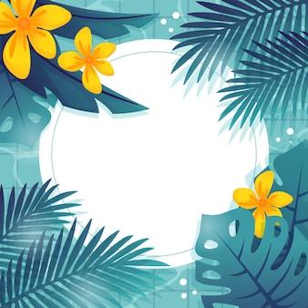 Fundo de folhas tropicais planas
