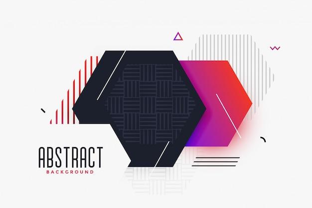 Fundo de forma abstrata de estilo hexagonal de memphis