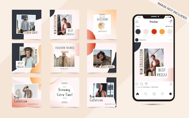Fundo de forma abstrata orgânica para postar mídia social conjunto de banner de promoção de venda de moda instagram