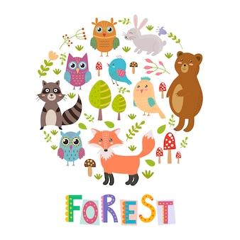 Fundo de forma círculo floresta com fox bonito, corujas, urso, pássaros e guaxinim.