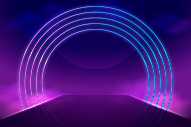 Fundo de forma de círculo de luzes de néon realista