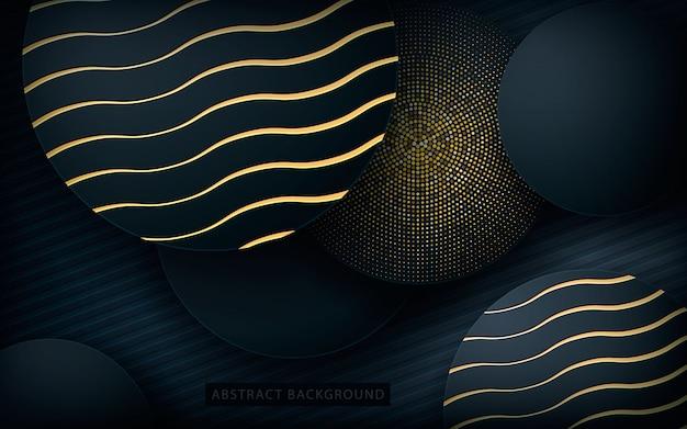 Fundo de forma de círculo preto com textura dourada
