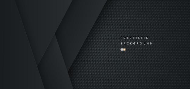 Fundo de forma geométrica preta futurista abstrata com textura de metal.