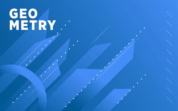 Fundo de forma moderna geometria abstrata gradiente azul com linha e pontos.