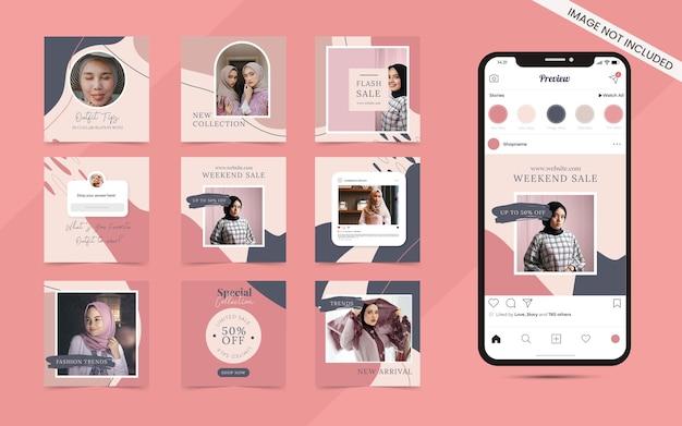Fundo de forma orgânica abstrata para pós-carrossel de mídia social sem costura conjunto de promoção de banner de venda de moda instagram