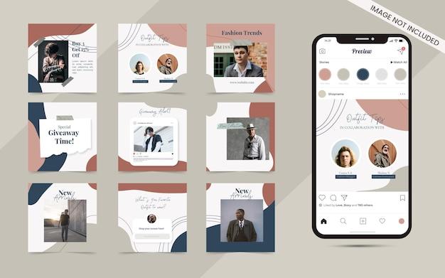 Fundo de forma orgânica abstrata sem costura para postar carrossel de mídia social conjunto de promoção de banner de venda de moda instagram