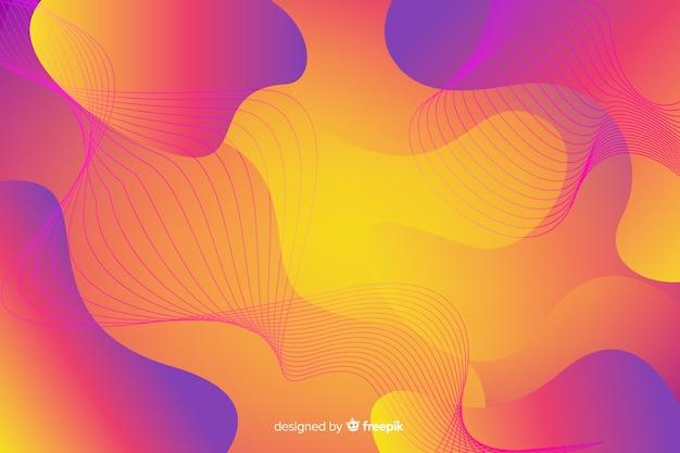 Fundo de formas abstratas fluxo colorido