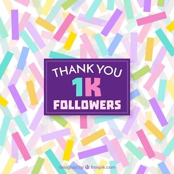 Fundo de formas coloridas retangulares de 1k seguidores