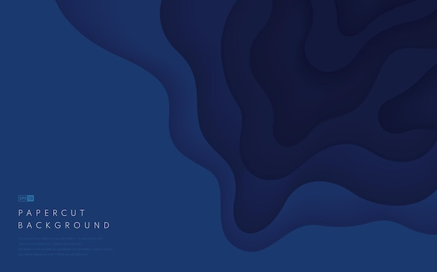 Fundo de formas de corte de papel azul escuro abstrato com espaço de cópia.