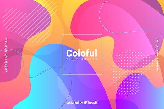 Fundo de formas fluidas gradiente colorido