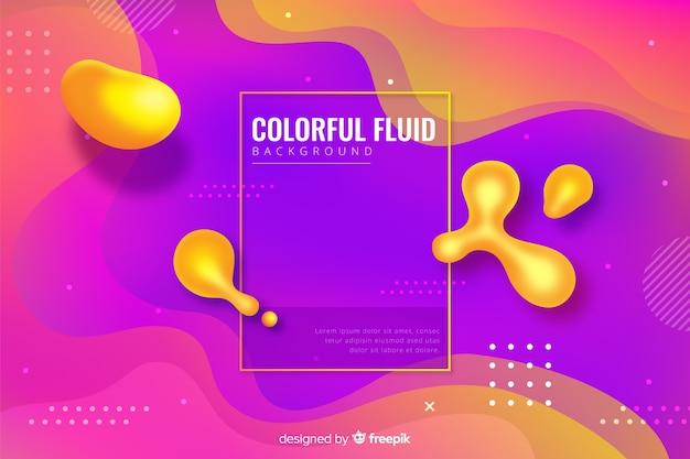 Fundo de formas fluidas tridimensional colorido