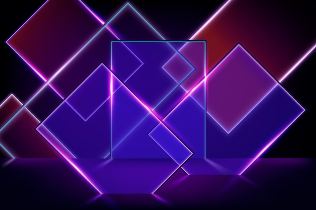 Fundo de formas geométricas de luzes de néon