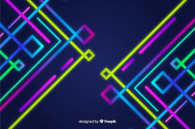 Fundo de formas geométricas de néon colorido