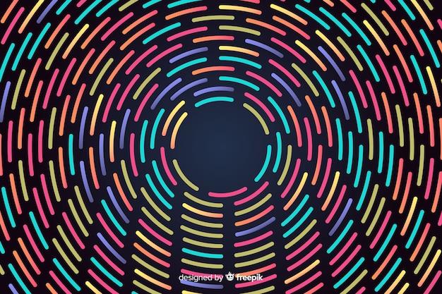 Fundo de formas geométricas de néon redondo