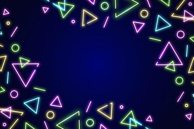 Fundo de formas geométricas de néon