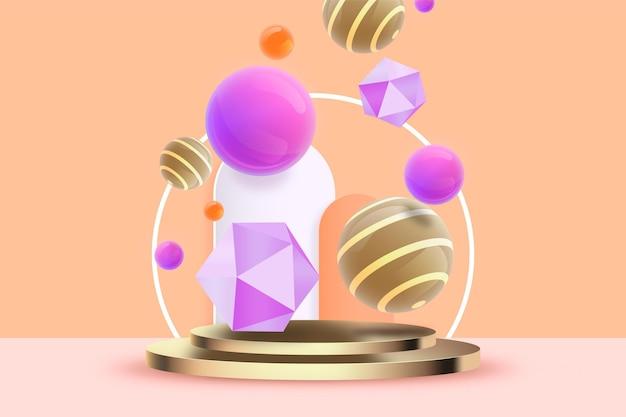 Fundo de formas geométricas em 3d