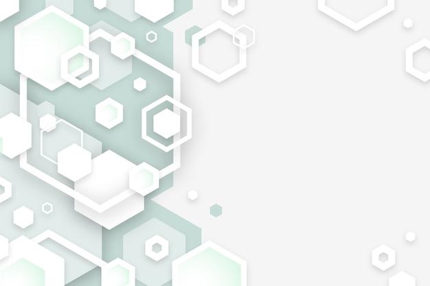 Fundo de formas hexagonais em branco no estilo de papel 3d