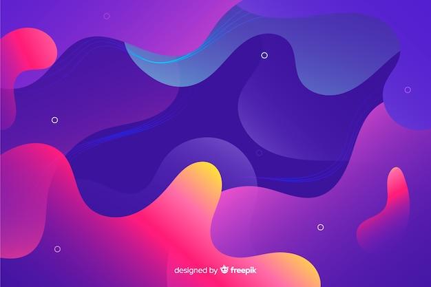 Fundo de formas líquidas gradiente colorido