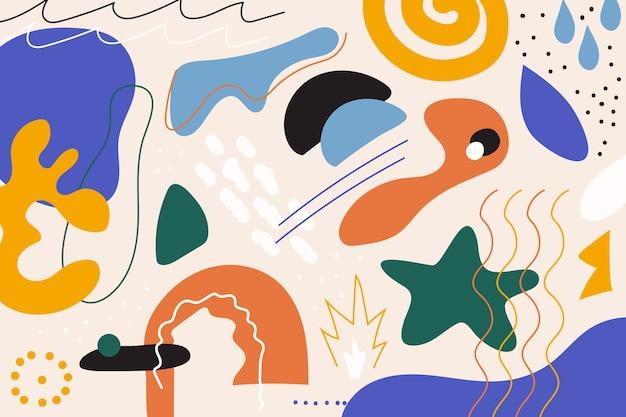 Fundo de formas orgânicas abstratas de mão desenhada Vetor grátis