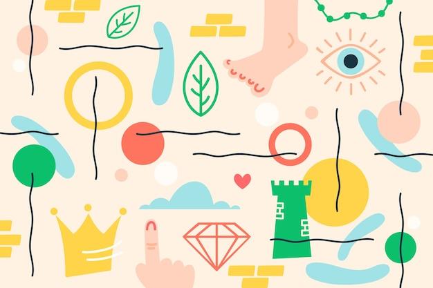 Fundo de formas orgânicas abstratas desenhados à mão