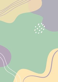 Fundo de formas pastel abstratas orgânicas, fundo estilo memphis, estética minimalista