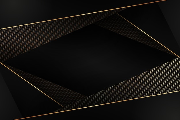 Fundo de formas poligonais em detalhes dourados