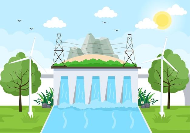 Fundo de fornecimento de energia ecológica sustentável ilustração em vetor plana edifícios de estação de usina com painéis solares, gás, energia geotérmica, renovável, água e turbinas eólicas