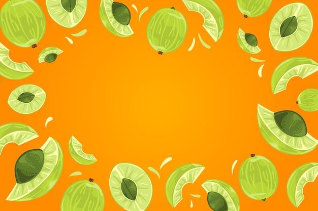 Fundo de frutas amla desenhado à mão