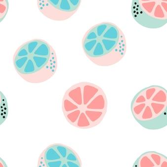 Fundo de frutas cítricas frescas. cenário sobreposto desenhado à mão. ilustração vetorial de papel de parede com cores pastel. padrão sem emenda com coleta de frutas, para impressão, cartaz, têxtil, design de cartão de felicitações