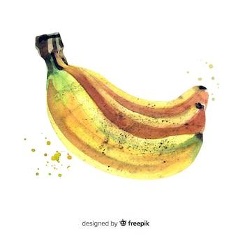 Fundo de frutas com banana aquarela