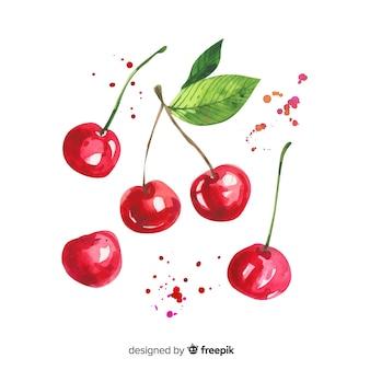 Fundo de frutas com cereja aquarela