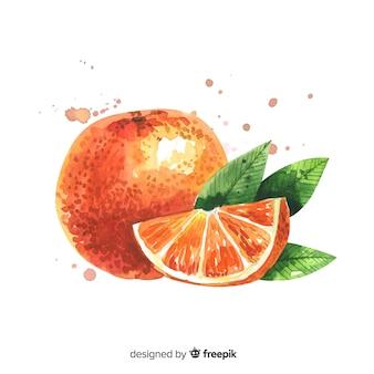 Fundo de frutas com laranja aquarela