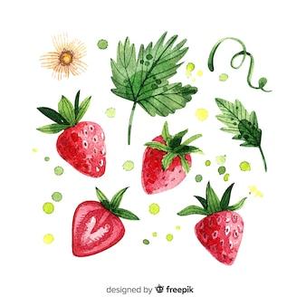 Fundo de frutas com morango em aquarela