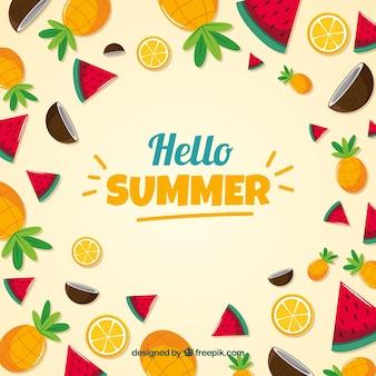 Fundo de frutas deliciosas de verão