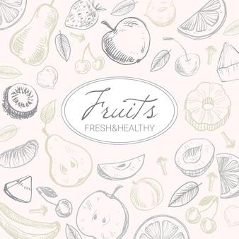 Fundo de frutas desenhado à mão