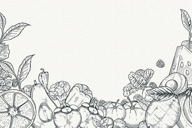 Fundo de frutas e legumes de mão desenhada