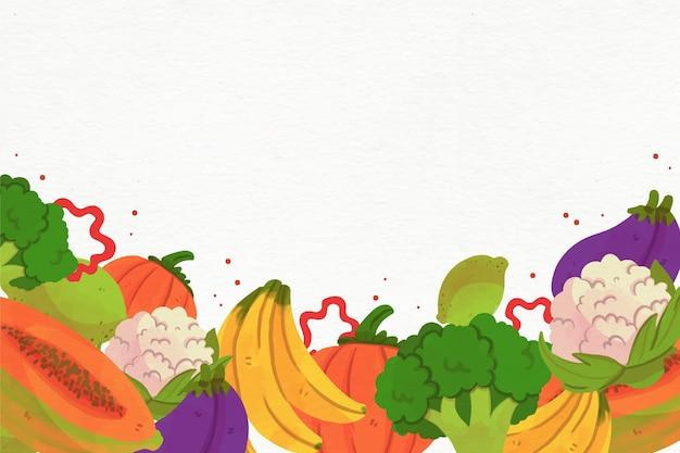 Fundo de frutas e legumes em aquarela