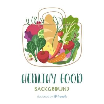 Fundo de frutas e vegetais de mão desenhada