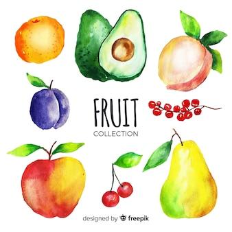 Fundo de frutas e vegetais em aquarela
