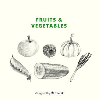Fundo de frutas e vegetais incolor de mão desenhada