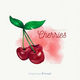 Fundo de frutas em aquarela com cerejas