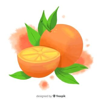 Fundo de frutas em aquarela com laranjas
