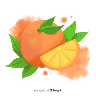 Fundo de frutas em aquarela com laranjas Vetor grátis