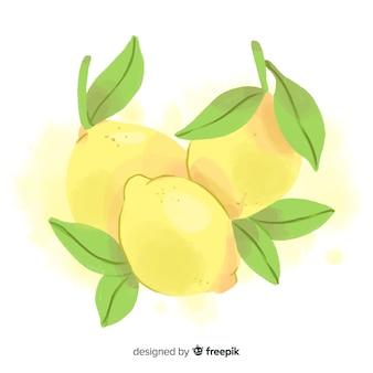 Fundo de frutas em aquarela com limões