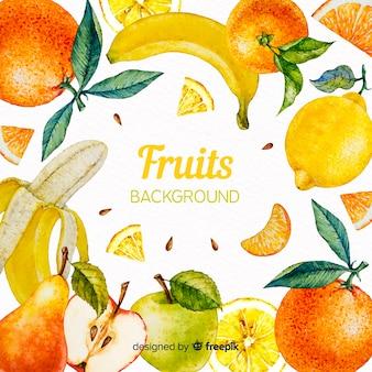 Fundo de frutas em aquarela