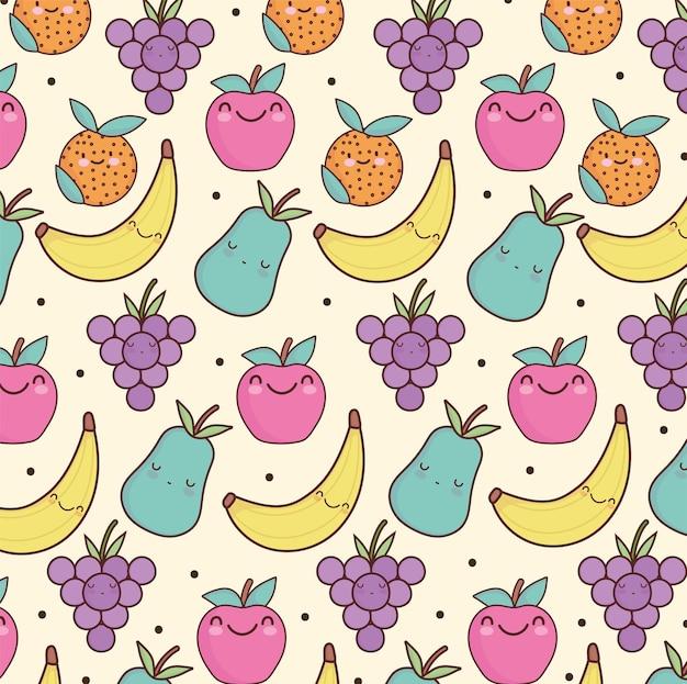 Fundo de frutas fofas uva maçã banana
